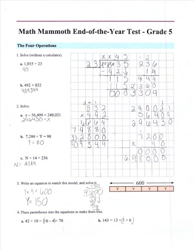 Math Mammoth placement tests for grades 1-7 (free math