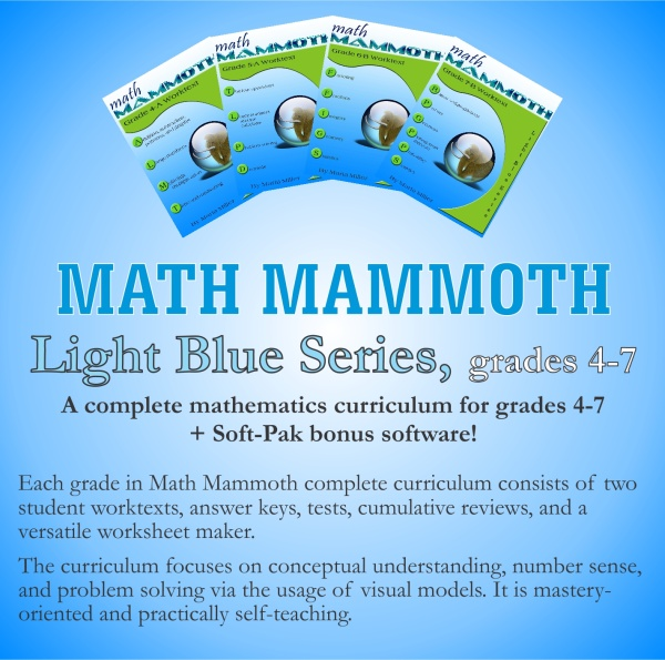 Math Mammoth discounted bundle deals on CD or as downloads: Blue