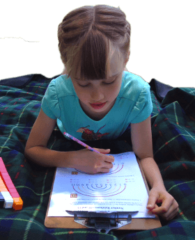 Child working on number rainbows worksheet