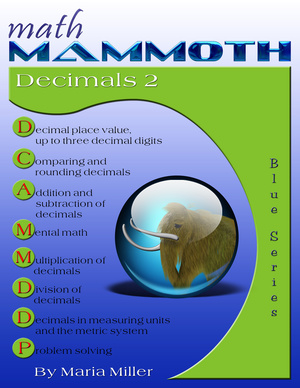 Math Mammoth Decimals 2 math book cover