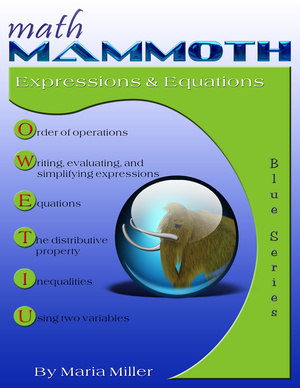 Math Mammoth Expressions & Equations workbook cover