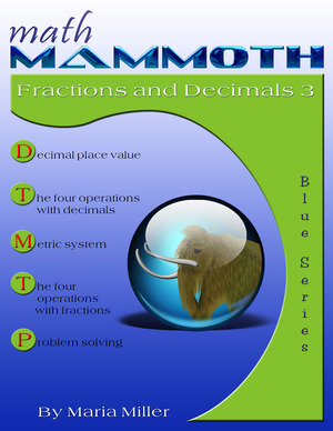 Math Mammoth Fractions & Decimals 3 math book cover