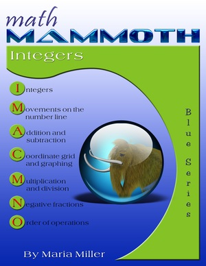 Math Mammoth Integers workbook cover