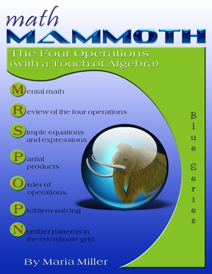 Math Mammoth The Four Operations (with a Touch of Algebra) math book cover
