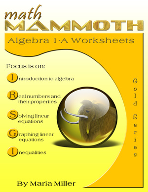 Math Mammoth Algebra 1-A Worksheet Collection book cover
