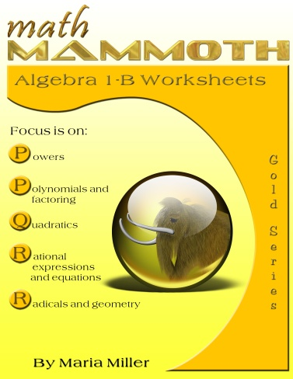 Math Mammoth Algebra 1 Worksheets - two reproducible algebra
