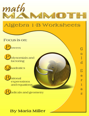 Math Mammoth Algebra 1-B Worksheet Collection book cover