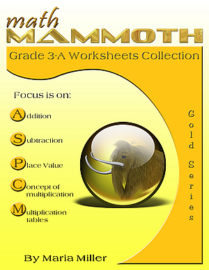 Math Mammoth Grade 3-A Worksheet Collection book cover