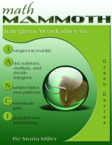 Math Mammoth Integers Worksheet Collection book cover