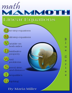 Math Mammoth Linear Equations workbook cover