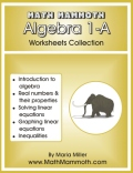 Algebra 1-A worksheets cover