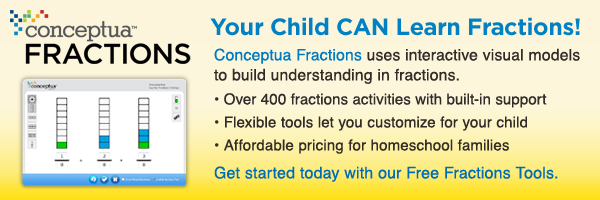 CONCEPTUA FRACTIONS - Your child CAN learn fractions! Conceptua Fractions uses interactive visual models to build understanding in fractions. -Over 400 fractions activities with built-in support. -Flexible tools let you customize for your child. -Affordable pricing for homeschool families. Get started today with our Free Fractions Tools.