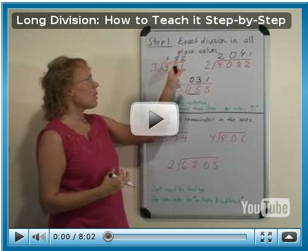 screenshot of video on long division