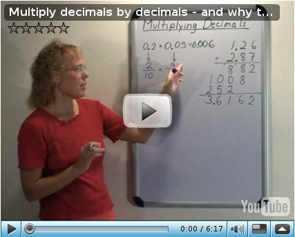 Screenshot of video: multiply decimals by decimals