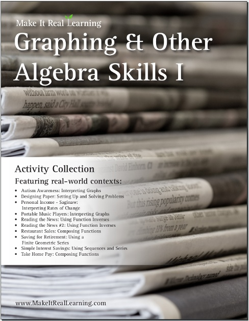 Make It Real Learning Graphing and Other Algebra Skills I workbook