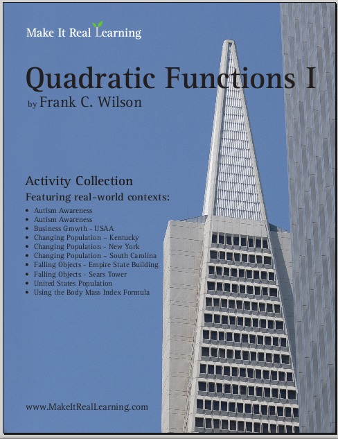 quadratic functions i workbook for algebra 1 or 2 make it real learning. Black Bedroom Furniture Sets. Home Design Ideas